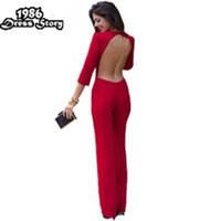 комбинезон без спинки оптовых-Wholesale-Plus Size Women Red Jumpsuit Backless Sexy Full Sleeve Rompers Womens Jumpsuit Skinny Bodysuit Macaquinho