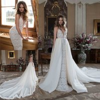 Wholesale Detachable Tail Wedding Dress - Berta Bridal Lace Wedding Dresses With Detachable Tail Deep V Neck Backless Bridal Gowns Cathedral Train Sleeveless Wedding Gown