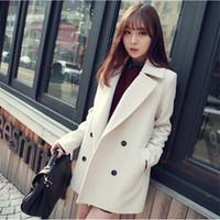 Wholesale Korean Women S Winter Coat - Wholesale-Winter Medium-Long White Light Blue Wool Coat Women's Peacoat Korean Fashion Double Breasted Plus Size Outwear Manteau Femme