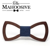 Wholesale Engraving Brass - Wholesale- Mahoosive Wood Bow tie men Groom Marry Groomsmen Wedding Party Colorful Engraved Butterfly Cravats Mens wooden bow tie