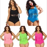 Wholesale Swimsuit Plus Sizes Free Shipping - PLUS SIZE Tassels high waist swimsuit bikini fringe biquini vintage high waist tassels bikini swimwear retro bathing suits free shipping