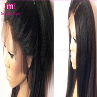 Wholesale Lace Wigs Virgin Straight - Italian Yaki Indian Virgin Full Lace Wigs Front Lace Wigs Human Kinky Straight For African Americans Bleached Knots Baby Hair