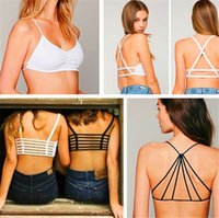 Wholesale Cut Out Back Shirt - 2016 New Sexy Crop Top Women Lady Back Hollow Out Strap Tank Tops With Bra Padded Summer Beach Blouse Vest Cut Out Shirt DCBF221