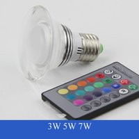 Wholesale Rgb Led Ufo - Colorful 3W 7W E27 B22 RGB 16 colors LED Spotlight Downlight Crystal Light Bulb-UFO with Infrared remote control RGB led Blubs