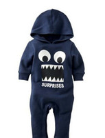 Wholesale 95 Cartoon - Autumn Winter Cartoon Baby Clothing Romper Hoodies Funny BIg Eyes Tooth Toddler Babies Rompers 0-24M Inant Jumpsuits 80-90-95 B001