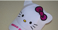 Wholesale Cartoon White Ear Hat - 2016 Spring Children Girls White Cute KT Cat Baseball Hats Cotton Sport Hat Kids Fashion Cartoon Bow Ears Embroider Caps B3977