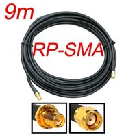 Wholesale Rp Sma Cable 9m - Wholesale-9M RP-SMA cable SMA male to female Extension cable WiFi Router Antenna Cable, free shipping