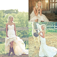 Wholesale Short Wedding Dress Boots - Bride in Cowgirl Boots Country Wedding Dresses 2016 Sweetheart Backless Backless A-line Lace Wedding Gowns Plus Size