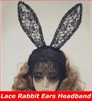 Wholesale Celebrity Veils - Free Shipping 12pcs lot Styling Lady Gaga Black Lace Rabbit Ears Headband Bunny Hair Band Veil Mask Party Accessories new arrive!!superb!
