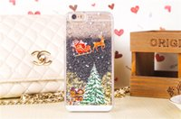 Wholesale Case Iphone Santa Claus - Christmas Theme Santa Claus Liquid Glitter Transparent Clear Hard Plastic cover case For Iphone 5 5S SE 6 6S Plus 7 7PLUS galaxy s6 s7 edge