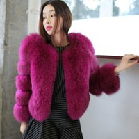 Wholesale Winter Coat Women Small - 2017 New Autumn Winter high quality Luxury Womens Short Fluffy Fur Coat Ladies Turkey Feather Trench Jacket Outwear
