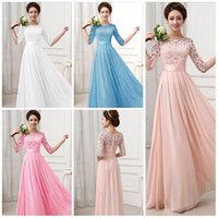 Wholesale Sexy Women Maxi Dresses - Hot Lace Chiffon Prom Gown Dresses for Women Maxi Dress Half sleeve Hollow out High Waist Sexy Wedding Evening Dress Party dress 2015 KF274