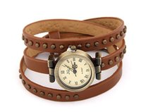 spikes bracelet items - Miin Order USD Mix Item SPX3172 Bronze fashion vintage leather spike button Bracelet Wrist Women Watches For Beauty