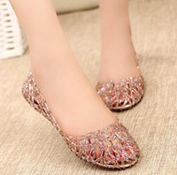Wholesale Summer Breathable Jelly Shoes - FREE SHIPPING New 2015 summer women sandals breathable shoes crystal jelly nest crystal sandals female flat sandal shoes woman