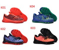 Wholesale Cheap Kd V Shoes - Sneakers Kids KD8 VII 4th of July V8 V-8 Basketball Shoes Cheap Kids USA KD 8 Hunt's Hill Sunrise Kds Kevin Durant Sports Trainers