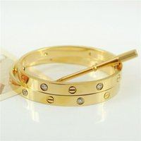 Wholesale Fashion hot sell rose k gold plated L stainless steel screw bangle bracelet with screwdriver and original box