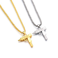 Wholesale gun shape pendant for sale - Group buy Hip Hop necklace carved Gun Shaped Gold bullion plug Pendant Gold over Silver chain necklaces For Mens husband Hiphop Jewelry Gift