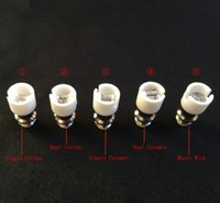 glas globus dual-baumwolle zerstäuber großhandel-Rich Styles Dual Ceramic Wax Coil Kopf Dual Baumwolle trocken Herb Vaporizer Spulen für Glas Globe Wachs Zerstäuber Dampf Kanone Vase Clearomizer Tanks