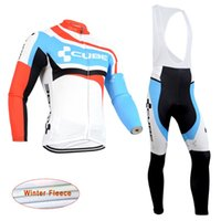 c1e5f38785e Full Breathable Men 2017 CUBE Cycling thermal fleece Jersey Long Sleeve Set Bike  Wear winter Tour