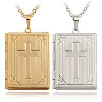 Wholesale Vintage Jewelry Book - Vintage Bible Book Photo Lockets Necklaces Pendants 18K Real Gold Platinum Plated Choker Necklace Charms Jewelry