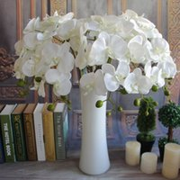 "Wholesale Orchids Artificial Flower - 100pcs Popular white Phalaenopsis Butterfly Orchid flower 78cm 30.71"" Length 10Pcs lot 7 Colors Artificial Phalaenopsis for Wedding EMS ship"