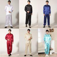 xxl kung fu jacke großhandel-Shanghai Geschichte Frühling Tai Chi Uniform Herren Kung Fu Anzug Tradition Kung Fu Kleidung für Mann Kampfkunst Jacke Hosen Set 5 Farbe