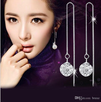 linda mulher coreana venda por atacado-Versão coreana do temperamento feminino brincos brincos de orelha bonita longo parágrafo fêmea branca de neve