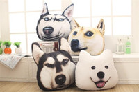 Wholesale Toy Huskies Plush - 3D Animal Dog Pillow Car Sofa Cushion 40*37cm Samoyed Husky Dog Plush Toys Dolls Stuffed Decorative Pillow Birthday Chrismats Gift