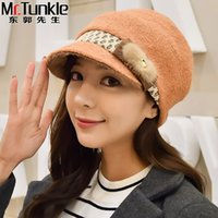Wholesale korean hair style ladies - Wholesale-New Style Lady Women Cap Winter Korean Fur Rabbit Hair Fashion Cap Wool Newsboy Cap