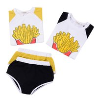 Wholesale French Girls Clothes - Brandwen 2pcs New Summer Children's Casual Set Tops + shorts Boy Girl Cartoon French Fries Pattern Suits Cotton Cartoon Clothes