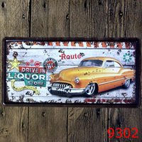 Wholesale Wholesale Decorative Metal Wall Art - Wholesale- Car Bar Decorative Metal Plates Vintage Metal tin sign Bar Wall art craft painting metal art for Home Bar Store Pub 15x30cm