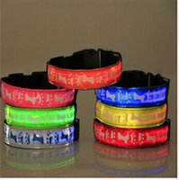 LED Dog Collar Pet Shows Pet Dog Collar Pintura Oposto Pele Super Bright Night Light Nylon Tamanho Ajustável Collar CYF31
