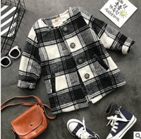 Wholesale Trench Coats Rounded Collar - Girls trench coat winter children black white plaid single breasted outwear kids round collar double pocket thicken windbreaker R1042
