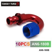 hortum biter toptan satış-Tansky-6AN AN6 6-AN 180 Derece DÖNER YAĞ / YAKıT / GAZ HATTı HORTUM END PUSH-ON ERKEK TAKIMI AN6-180B