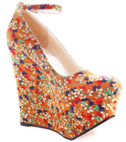 Wholesale Women Straps Ons - Colored Floral Printing Women Dress Shoes Comfortable Causal Style Round Toe Closed Toe Slip-ons Ankle Straps Ladies Shoes 2016 New