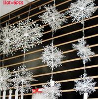 Wholesale Cheap Snowflake Ornaments - Wholesale-6Pcs Lot Cheap Christmas decorations snowflake three-dimensional christmas hanging decoration snowflake string enfeites de natal