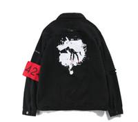 Wholesale Women Long Jean Dresses - Wholesale- 424 Armband Hip Hop Denim Jean Jackets Men Women Fashion Bomber Man Jacket Men's Windbreaker Streetwear Couples Dress