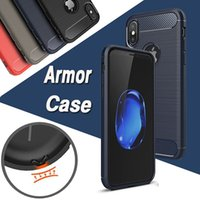 Wholesale Note Rugged - Carbon Fiber Case Rugged Armor Hybrid Shockproof Slim Soft TPU Brushed Back Hard Cover For iPhone X 8 7 Plus 6 6S 5S 5 Samsung Note 8 5 S8