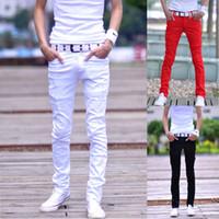 Wholesale Men S Jeans Bermuda - wholesale 7 Colors Distrressed Mens Casual Denim Pants Size 27-34 Slim Fit Fashion Cotton Bermuda Jeans Masculina White Skinny Men Jeans