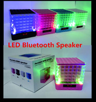 Wholesale Led Display Stand Wholesale - LED Mini Bluetooth Speaker Led light display T-2086A music player for smart phone   computer  MP3 player DHL Free Shipping