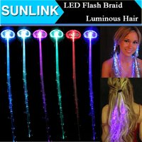 Wholesale Hair For Halloween - Led Hair Flash Braid Hair Decoration Fiber Luminous Braid for Halloween Christmas Birthday Wedding Party Holiday Xmas Gift
