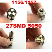 señal TRICOLOR 10X 1156 canbus 1156 27 smd led 5050 1157 led 27SMD 12V Car Backup Inversa Tail Stop Turn