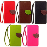 Wholesale Hand For Case S3 - Leaf Wallet Leather Case TPU back Cover with hand strap For Samsung S3 S4 S5 mini S6 edge plus S7
