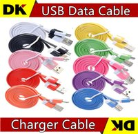 Wholesale Wholesale I Phone 4s - 1M 2M 3M Micro V8 Noodle Flat Data USB Charging Cords Charger Cable Line for i 5 5C 5S 4 4s Samsung Android Phone NEW