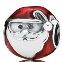 Wholesale Christmas Beads European Bracelet - Wholesale Jolly Father Christmas 925 Sterling Silver Charm European Charms Bead Fit diy Snake Chain Bracelet Women Jewelry