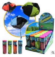 Wholesale 12 Kids Parachute - Parachute Launcher land UFO Sky Diver With Figure Soldier Kids Children Outdoor Sport Play Toys Best Christmas Gifts Child Parachuts XJ 005