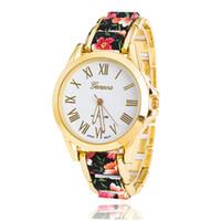 Wholesale geneva watches floral for sale - Group buy 2018 New Fashion Floral Flower GENEVA Watch GARDEN BEAUTY BRACELET WATCH Women Wristwatch Luxury Quartz Watch