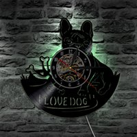 I Love Dog Vintage Silhouette Retroilluminazione a LED Modern Light Wall Vinyl Clock Cambia colore Home Art Decor Telecomando