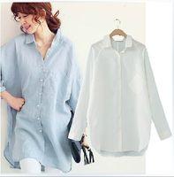Wholesale Solid Color Boyfriend Shirt - Plus Size Blouse Ladies Casual Boyfriend Loose Batwing Long Sleeve Blouse Women Cotton Long Blouse Blue White Linen Shirt XXXL