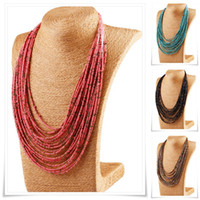 Wholesale Necklace Female Collar - Wholesale-20 Multi-layer Measle Beads Bohemian Necklaces&Pendants Statement Choker Collar Necklace Collier female Maxi Necklace Women